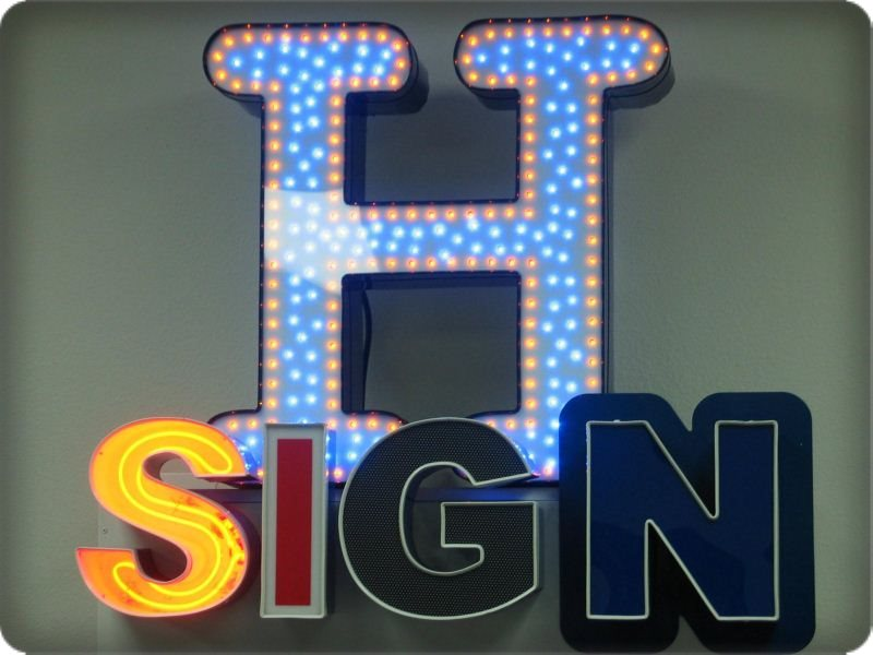 LetterLites Daytime Comparison all lighted